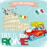 Getrokken hand, kleurenpenñ  IL grappige rode auto, achtergrondreis aan Rome Stock Afbeelding