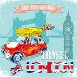 Getrokken hand, kleurenpenñ  IL grappige rode auto, reis aan Londen Vector illustratie Stock Illustratie