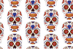 Getrokken hand Mexicaanse Dag van het Dode naadloze patroon Vector kleurrijke suikerschedel Stock Fotografie