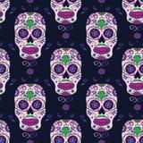 Getrokken hand Mexicaanse Dag van het Dode naadloze patroon Vector kleurrijke suikerschedel Stock Afbeeldingen
