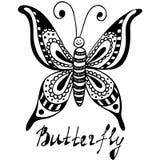 Getrokken hand, schets, beeldverhaalillustratie van vlinder Stock Foto's