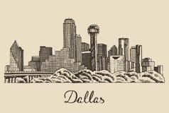 Getrokken hand van de de horizon de vectorillustratie van Dallas Stock Foto