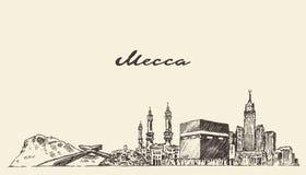 Getrokken hand van de de horizon de vectorillustratie van Mekka Stock Foto