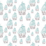 Getrokken hand van het de krabbel vectorpatroon van Cupcakessnoepjes de naadloze Stock Foto's