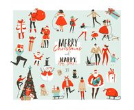 Getrokken hand vector abstracte Vrolijke Kerstmis en Gelukkig van het beeldverhaalillustraties van de Nieuwjaartijd groot de inza royalty-vrije illustratie