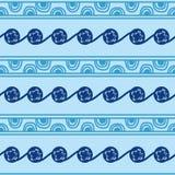Getrokken handensymbolen en tekens in de vorm van halve cirkels, lijnen en patronen in blauw Oekraïense nationale Trypillia Stock Fotografie