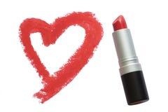 Getrokken hart door lippenstift Stock Fotografie