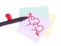 Getrokken harten met rode teller royalty-vrije stock foto