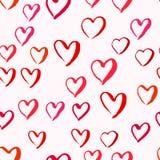 Getrokken harten naadloos patroon voor Valentijnskaartendag royalty-vrije illustratie