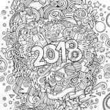 Getrokken 2018 het jaarillustratie van beeldverhaal vector leuke krabbels hand Stock Foto's