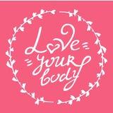 Getrokken houdt de lichaams positieve hand van uw lichaam het van letters voorzien in cirkel van takjes op roze achtergrond royalty-vrije illustratie