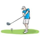 Getrokken Illustratie van de golfspeler de Slingerende Club Hand royalty-vrije illustratie