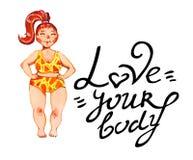 Getrokken illustratie van de lichaams de positieve waterverf hand van vrouw in geel zwempak met liefde uw lichaam het van letters royalty-vrije illustratie