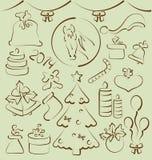 Getrokken Kerstmis vastgestelde elementen gestileerde hand Stock Afbeeldingen