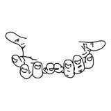 Getrokken menselijke hand van illustratie de vectorkrabbels hand met ruimtetha Royalty-vrije Stock Afbeelding