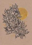 Getrokken met de hand kaart, pioenbloem en zon Stock Afbeeldingen