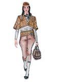 Getrokken model in bruin kostuum Stock Afbeelding