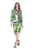 Getrokken model in groen kostuum Royalty-vrije Stock Foto