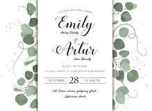 Getrokken nodigt de huwelijks bloemenhand het ontwerp van de uitnodigingskaart uit: Eucalyp vector illustratie