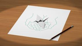 Getrokken op een document overhandigt het houden van een origamikraan 3d illustratie teruggeeft Stock Foto