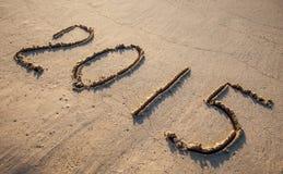 2015 getrokken op zand Royalty-vrije Stock Afbeeldingen
