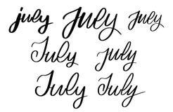 Getrokken reeks van verschillende hand juli royalty-vrije illustratie