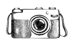 Getrokken retro camera Stock Fotografie