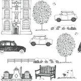 Getrokken schets van een achtergrond van de stadsstraat stock illustratie