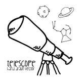 Getrokken telescoop vector illustratie