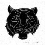 Getrokken tijger hoofdhand stock illustratie