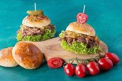 Getrokken Varkensvleeshamburger Royalty-vrije Stock Foto