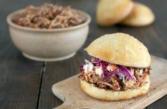 Getrokken varkensvleeshamburger met rode koolsalade Royalty-vrije Stock Afbeelding