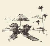 Getrokken vector van het paar de tropische strand, schets Stock Afbeeldingen