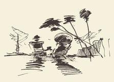 Getrokken vector van het paar de tropische strand, schets Stock Foto's