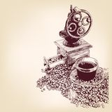 Getrokken vectorllustration van de koffie hand Royalty-vrije Stock Foto's