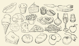 Getrokken Voedselinzameling Royalty-vrije Stock Foto