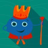 Getrokken volwassen overzeese koning met een kroon en personeel Royalty-vrije Stock Fotografie