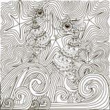 Getrokken Zentanglehand zwart-witte abstracte sterrige nacht, vissen seahorse op golven Stock Foto's