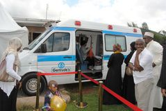 Getrude's Mobile Health Clinic in Nairobi Kenya. Getrude's Mobile Clinic in Nairobi Kenya during a corporate event for emergency Stock Images