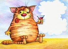 Getrunken mit einem Glas der roten Katze stock abbildung