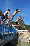 Getti un ponte sul salto nella laguna di Kaiteriteri Immagini Stock Libere da Diritti