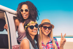 Getting away with my girls. Royalty Free Stock Image
