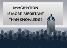 Imagination knowledge results. Getting better results with imagination than with knowledge Stock Photo