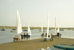 Yachts being launched. royalty free stock image