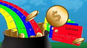 Getting cash back on credit card purchases is like finding the pot of gold at the end of a rainbow stock photography