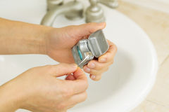 Getting Dental Floss Ready to Clean Teeth Royalty Free Stock Photos