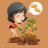 She is getting a dividend yield. vector illustration