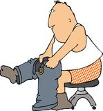 Getting dressed. This illustration depicts a man pulling on his pants Royalty Free Stock Photography