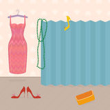 Getting dressed, girls boudoir. Vector illustration of dress, folding screen, shoes and bag, with space for text. Vintage style Stock Photos
