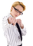 Getting into a fight. Business woman on white getting into a fight royalty free stock photos